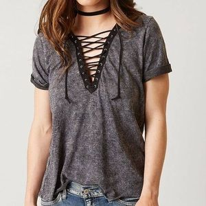 Gilded Intent Lace Up T Shirt
